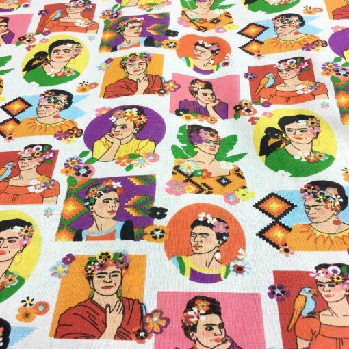 Tissu coton motif imprimé Frida Kahlo