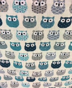 Cotton fabric printed pattern Owl beige