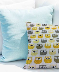 Tissu coton motif imprimé Hibou jaune