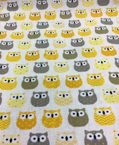 tessuto di cotone stampato modello Owl Giallo