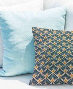 Tissu coton motif imprimé Paon beige et bleu coussin
