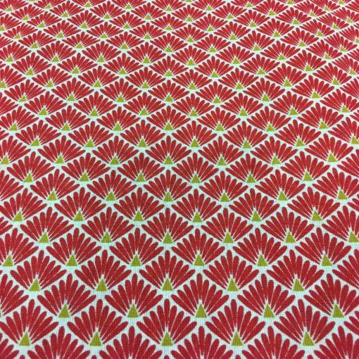Tissu coton motif imprimé Paon blanc et rouge