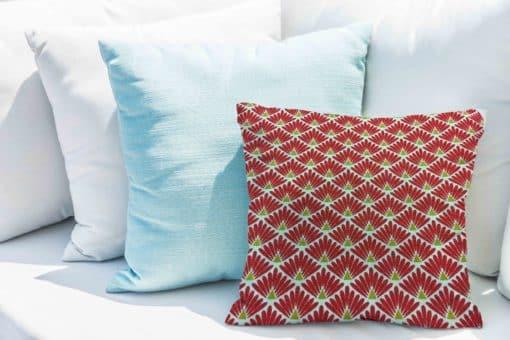 Tissu coton motif imprimé Paon blanc et rouge coussin