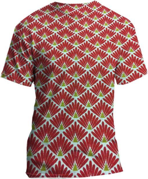 Tissu coton motif imprimé Paon blanc et rouge tshirt