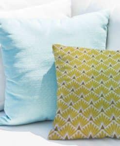 patrón de algodón impreso cojín tela Peacock amarillo y blanco
