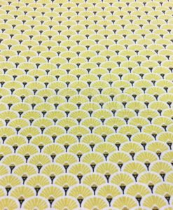 Cotton fabric printed pattern yellow and gold peacock