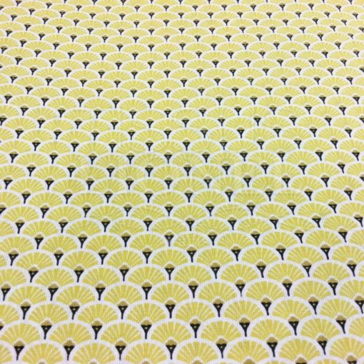 Tissu coton motif imprimé Paon jaune et or