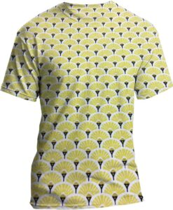 Cotton fabric printed pattern yellow and gold peacock shirt