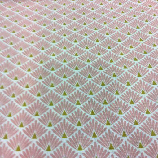 Tissu coton motif imprimé Paon rose et or
