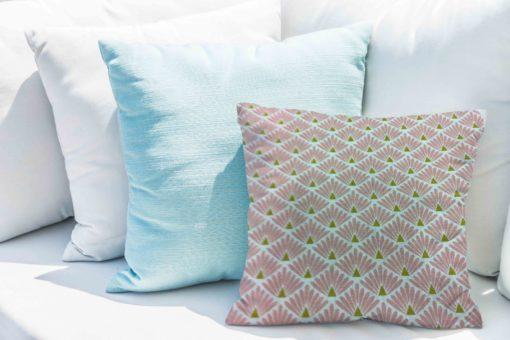 Tissu coton motif imprimé Paon rose et or coussin