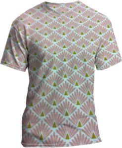 Tissu coton motif imprimé Paon rose et or tshirt