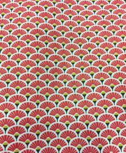 Tissu coton motif imprimé Paon rouge et or