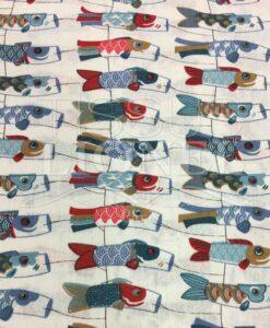 Tissu coton motif imprimé poisson cerfs volants