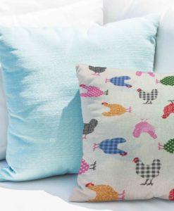 Tissu coton motif imprimé poule blanc