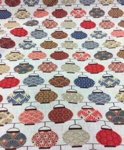 Tissu coton motif imprimé théière japonaise