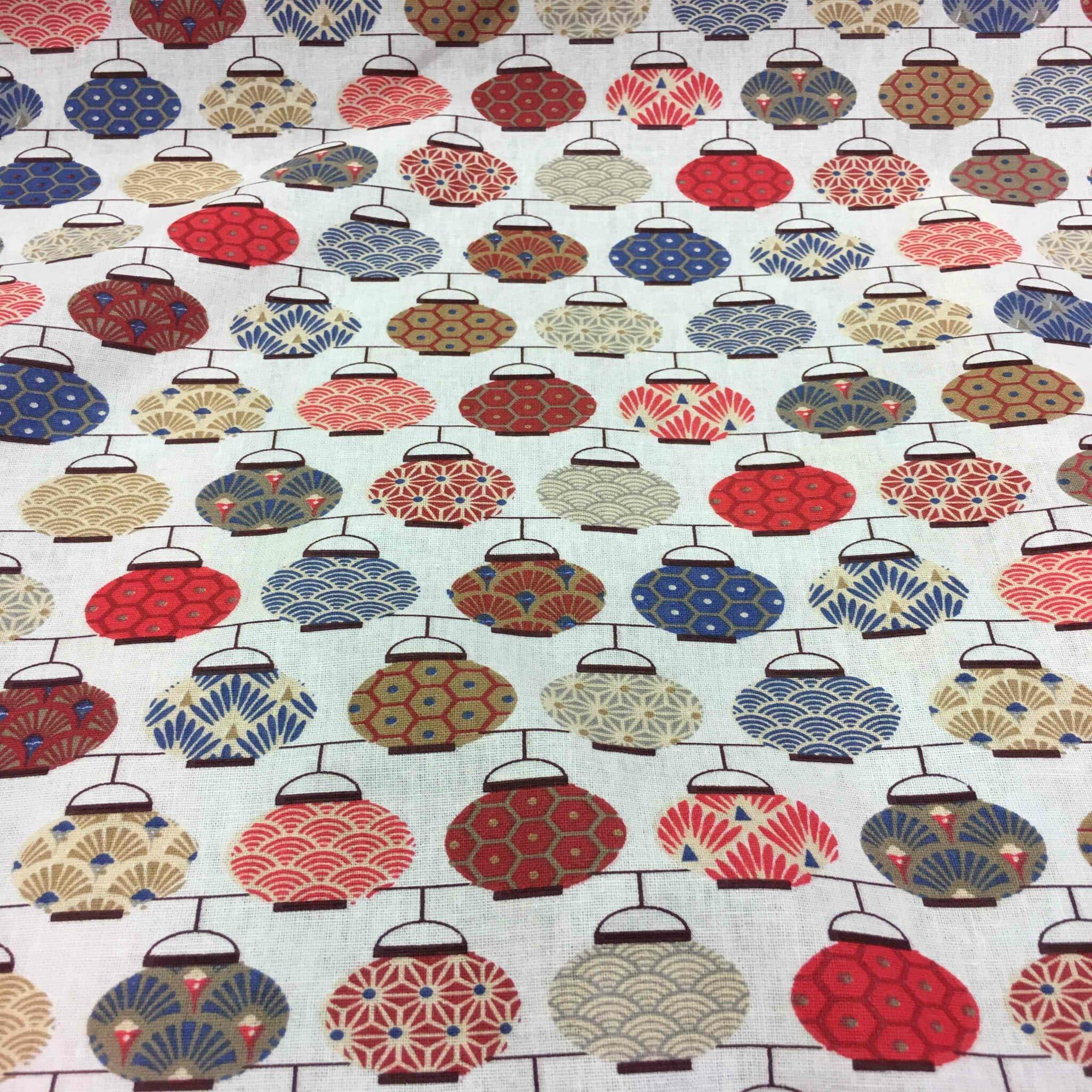 tissu coton motif imprime theiere japonaise