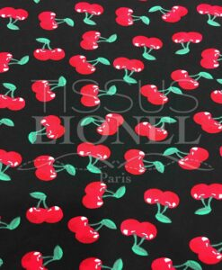 Black cotton fabric printed cherry pattern
