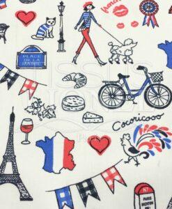Katoenen stof Paris cocoricooo