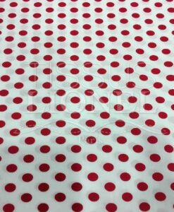 Tissu coton petit pois rouge sur fond blanc-1