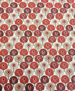 Red feather cotton fabric