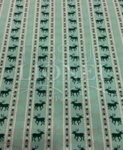 turquoise deer pattern printed cotton fabric