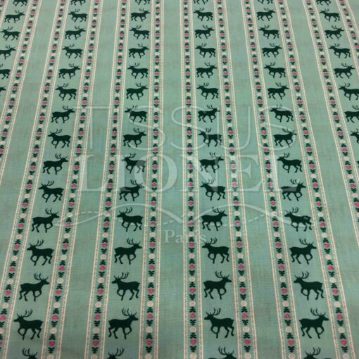 Tissu coton turquoise motif imprimé cerf