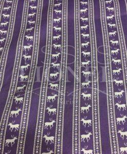tessuto di cotone viola stampato motivo cervi viola
