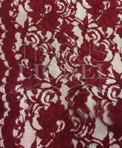 Tissu dentelle couture festonnée bordeaux