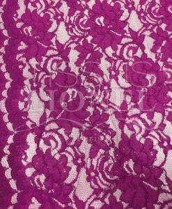 Tissu dentelle couture festonnée framboise