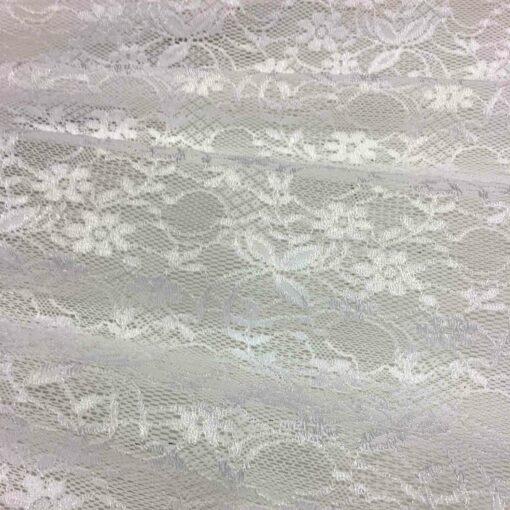 Tissu dentelle lycra blanc leavers