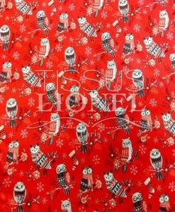 Tissu en coton Hibou de Noël