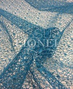 turquesa malla de plata brillante tela