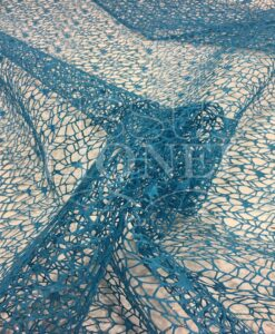 turquoise mesh fabric glittery silver
