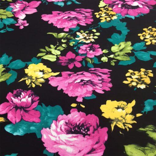Tissu gabardine de coton élasthanne rosier noir