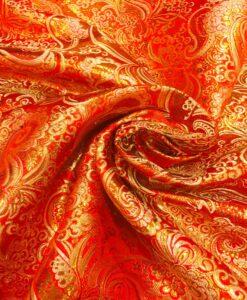 tejido jacquard de color rojo y oro lurex 2