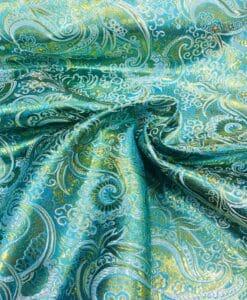 Tissu jacquard lurex turquoise et or 2