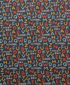 Tissu jersey de coton alphabet fond anthracite