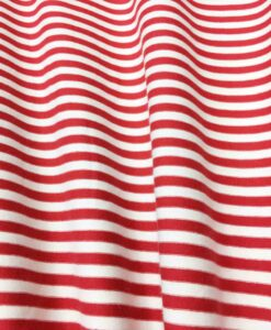 Tissu jersey de coton blanc rayure rouge