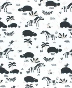 Tissu jersey de coton zoo noir