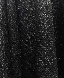 plata brillante tejido de punto de poliéster negro