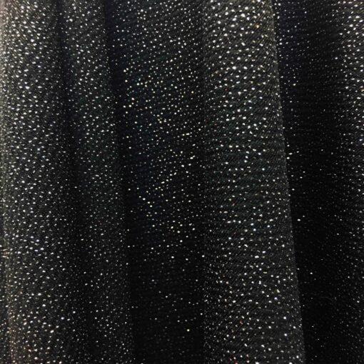 Tissu jersey polyester noir pailleté argent