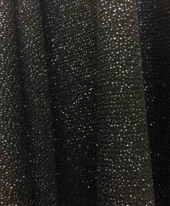 poliéster negro jersey tela de oro destellantes