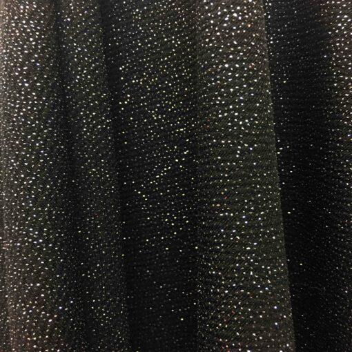 Tissu jersey polyester noir pailleté or