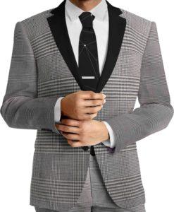Tissu lainage prince de galle gris fil à fil