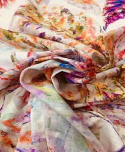Tissu lin viscose imprimé feuille colorés