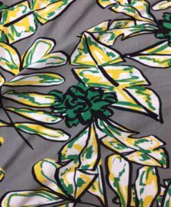 Tissu lin viscose imprimé feuille tropicale