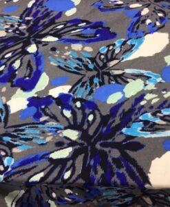 Tissu lin viscose imprimé papillon gris foncé