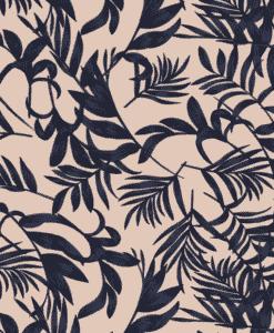 Tissu mélange polyester imprimé feuilles beige