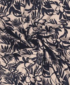 Tissu mélange polyester imprimé feuilles j-beige