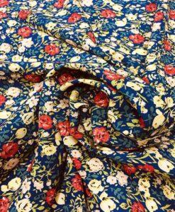 Blue spring garden microfiber fabric